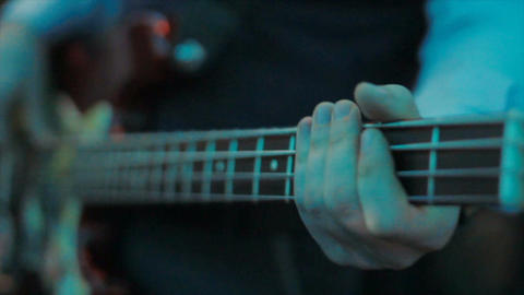 Closeup Man Hands Play Guitar in Bar Footage