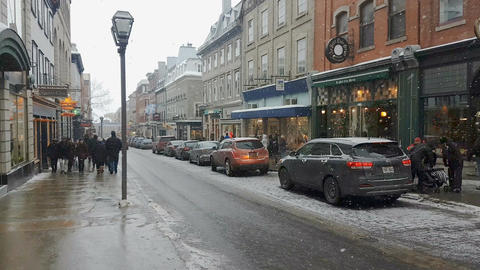 Quebec City, Canada Downtown winter streets snow in 4K Footage