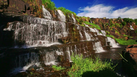 View of Wide Waterfall Pongour among Rocks in Vietnam Footage