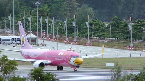 Nok Air Boeing 737 taxis on runway before taking off Footage