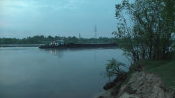 Long Cargo Barge Floating on the River Footage