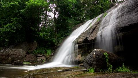 Waterfall wide shot timelapse, Park Sofiyivka, Ukraine. 4k footage Footage