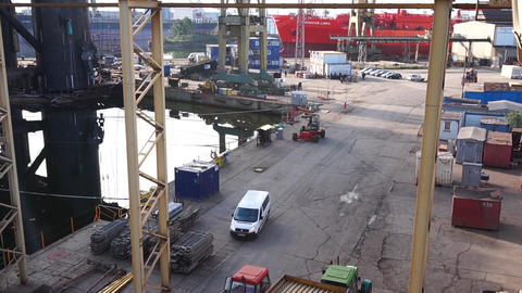 Daily life at Shipyard in Gdansk, Poland. Heavy industry Footage