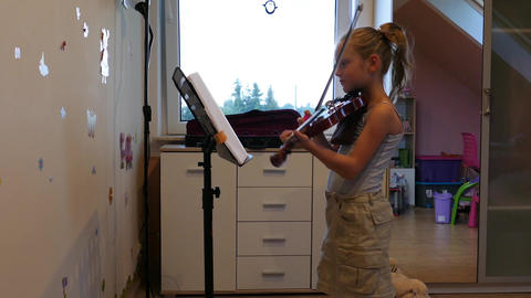 Silhouette of young girl playing viola Footage