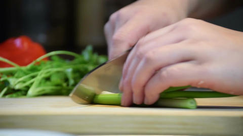 Roughly Chopping Spring Onion For Cooking Footage