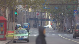Street traffic in Nanjing Road, Shanghai, China Footage