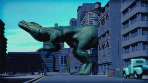 Vintage Monster: Giant Dinosaur in the City (Color) Animation