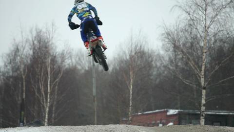 Winter Motocross high jumps Live Action