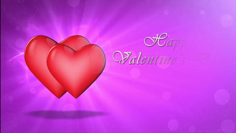Two lovers hearts. Happy Valentine's Day. 3D animation Animation