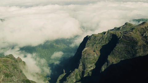 Aerial View of the Canyon and Mountains with Clouds Footage