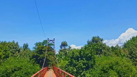 Camera Moves Through Suspension Bridge Live Action