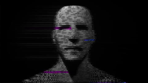 Virtual man made of digital data Animación