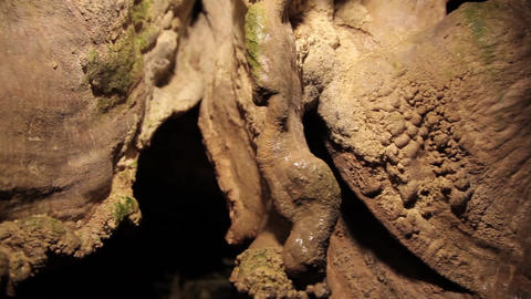 Close up of rock formations in a cave Live Action