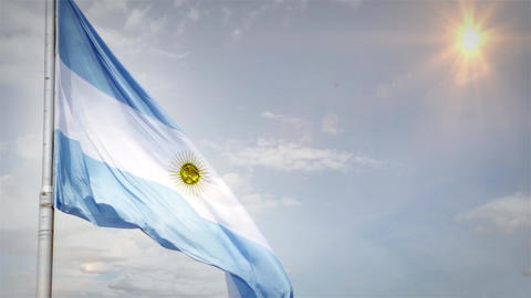 Argentine Flag Waving Footage