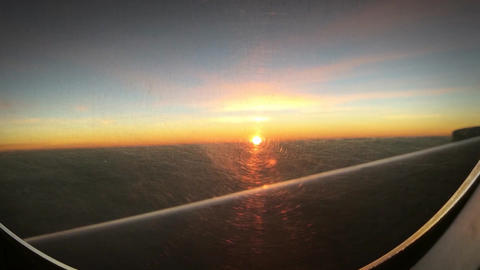 Sunset From Airplane Footage