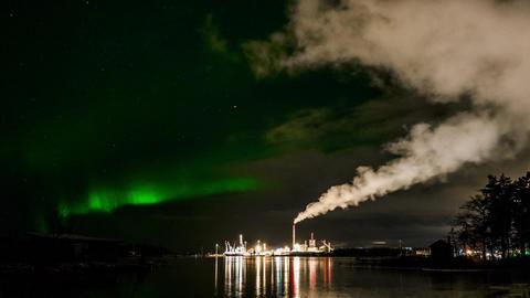 Aurora borealis over industrial area Footage