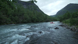 Kayaker in the Sjoa river, Norway Footage