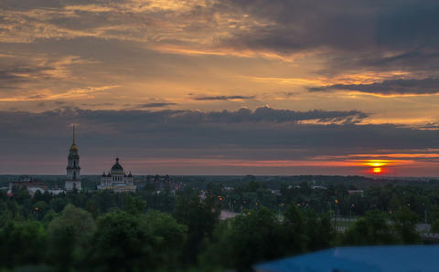 Summer dawn with a view of the Cathedral and the bridge in Rybinsk Footage