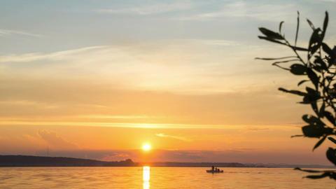Summer sunset on the river Volga Footage
