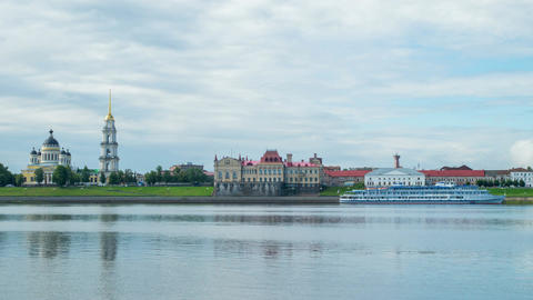 View of the Cathedral and the river Volga Footage