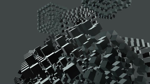 Cubes with blur rotate in space Animation
