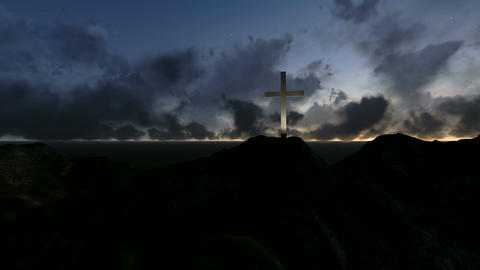 silhouettes of wooden cross made in 3d software Animation