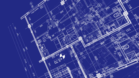 abstract architecture background: blueprint house plan with sketch of city Animation
