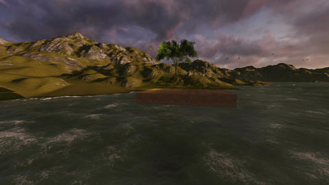 floating land with tree made in 3d software Animation