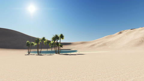 oasis in a desert, dark blue clear water surrounded by palm trees and sand dunes Animation