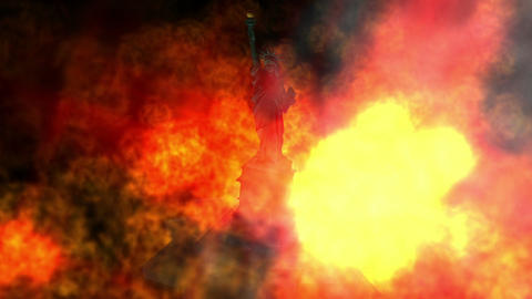 Digital Animation of a burning Statue of Liberty, Stock Animation