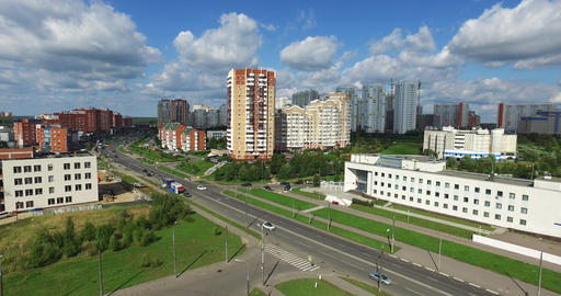 Aerial Architecture, Streets Roads and apartments in Moscow Filmmaterial
