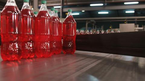 Packed bottle moving on conveyor belt Footage