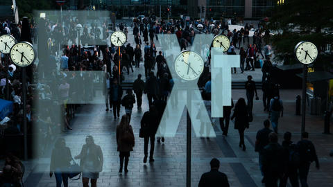 Timelapse with UK commuters, clocks and BREXIT related overlaid messages Live Action