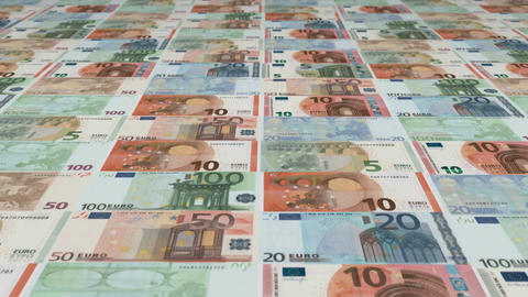 Animated background showing a large set of Euro banknotes sliding by Animation