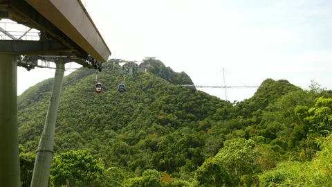 Langkawi gondola lift and skybridge from middle station, short time lapse Live Action
