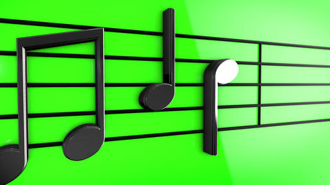 Animation of Music notes on staves, Stock Animation