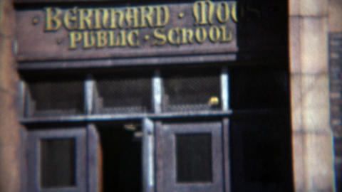 1955: Bernhard Moos Elementary School in Chicago, IL. USA old time signage Footage