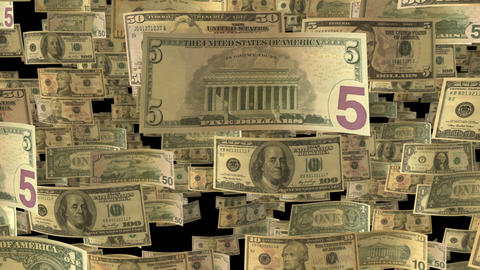Background animation with falling US Dollar banknotes in slow motion Animation