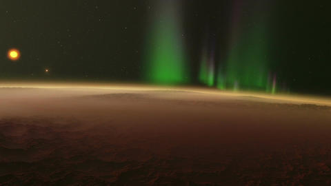 Timelapse animation trip through the Northern Lights of a rocky exoplanet Animation