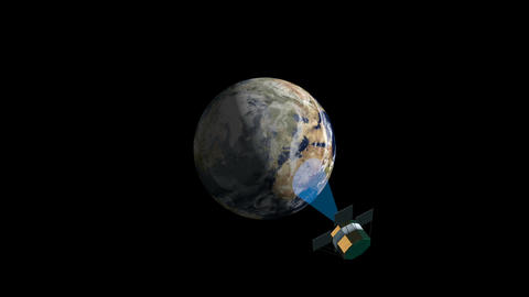 Satellite monitoring and scanning earth 3d animation Animation