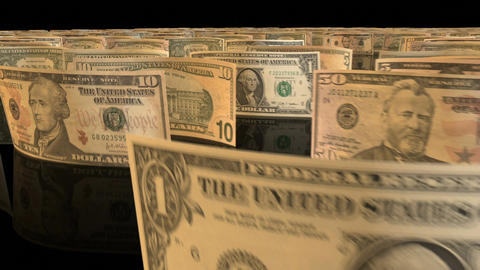 A fly-through animation over a large set of US Dollar banknotes Animation