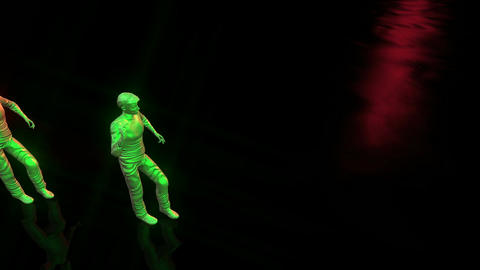 dancing puppets on the wet black floor Animation