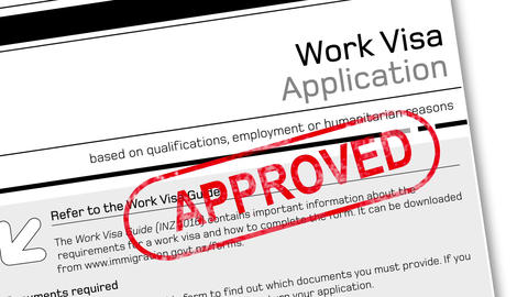 work visa application document for temporary stay with approved stamp Animation