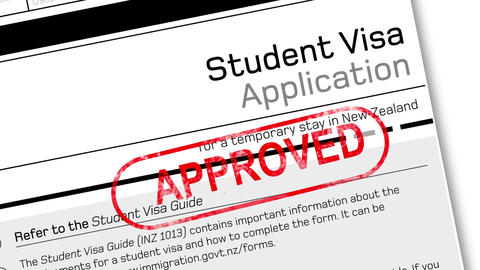 student visa application document for temporary stay with approved stamp Animation