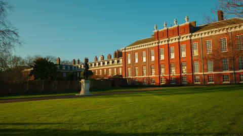 POV gimbal walk towards Kensington Palace during a sunny day in London, England, Footage
