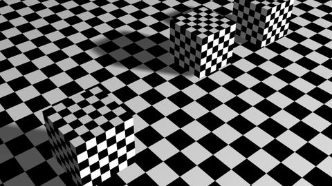 Moving cubes on checkered plane Animation