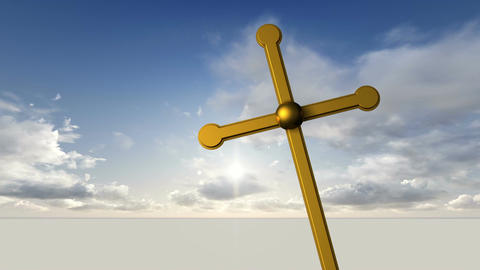 Wooden cross against the sky with clouds Animation