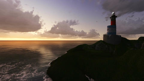 Lighthouse at Night made in 3d software Animation