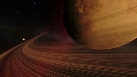 Timelapse flyby animation showing an exoplanet with Saturn-like rings Animation