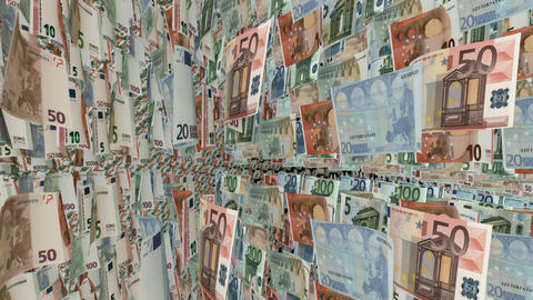 Animation showing a carousel with Euro banknotes Animation